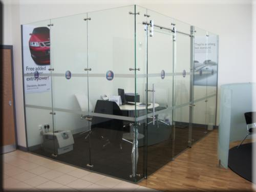 Saab Office window manifestation graphics